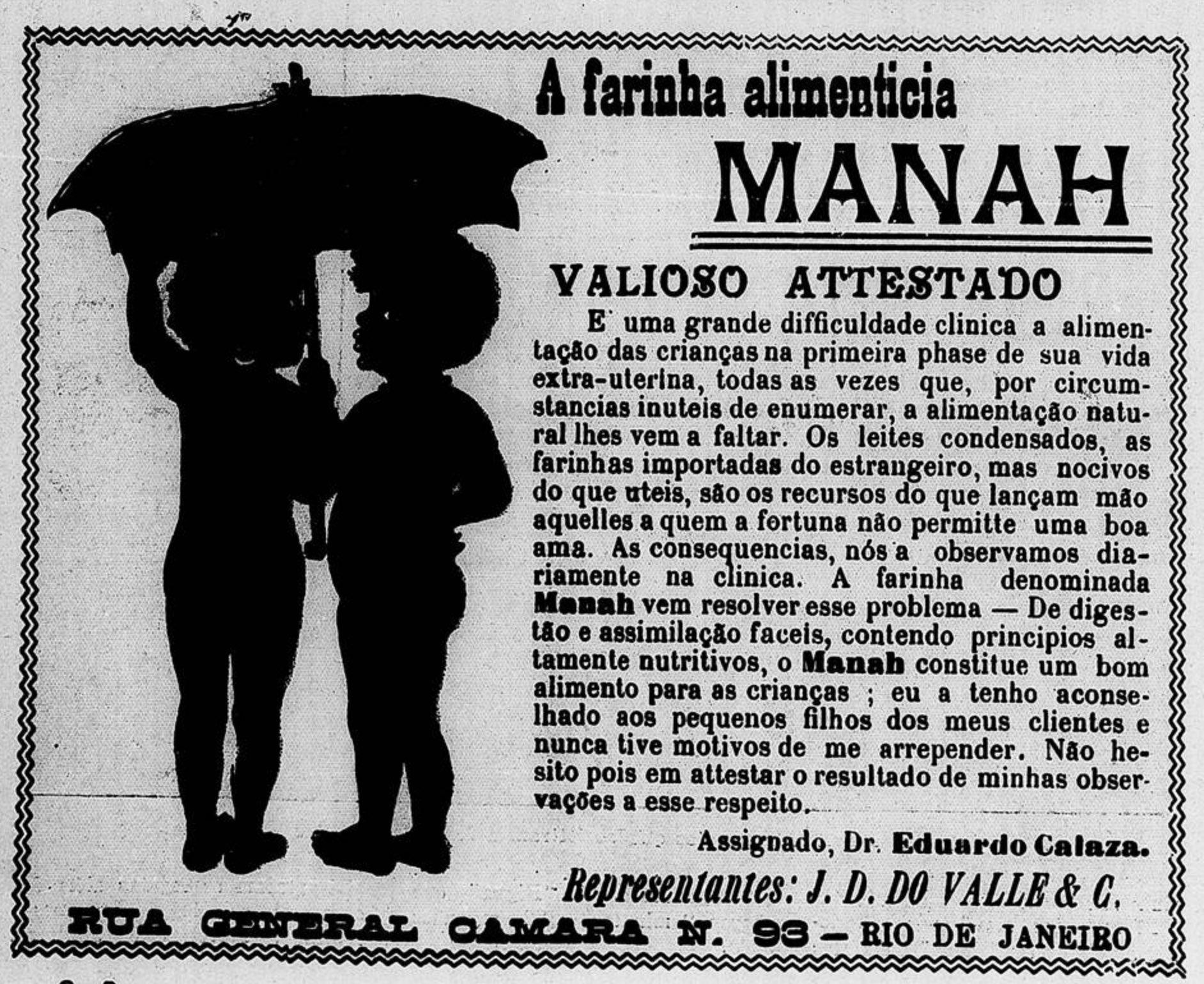 Propaganda antiga da Farinha Alimentícia Manah veiculada em 1909
