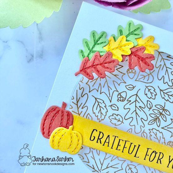 Grateful for You Card by Farhana Sarker | Fall Roundabout Stamp Set, Circle Frames Die Set, Fall Friends Die Set and Banner Trio Die Set by Newton's Nook Designs #newtonsnook #handmade