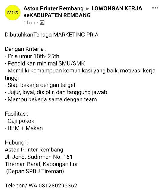 Lowongan Kerja Marketing PT Aston Sistem Indonesia Aston Printer Rembang