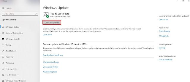 cara check Update Windows dan melakukan update windows di windows 10