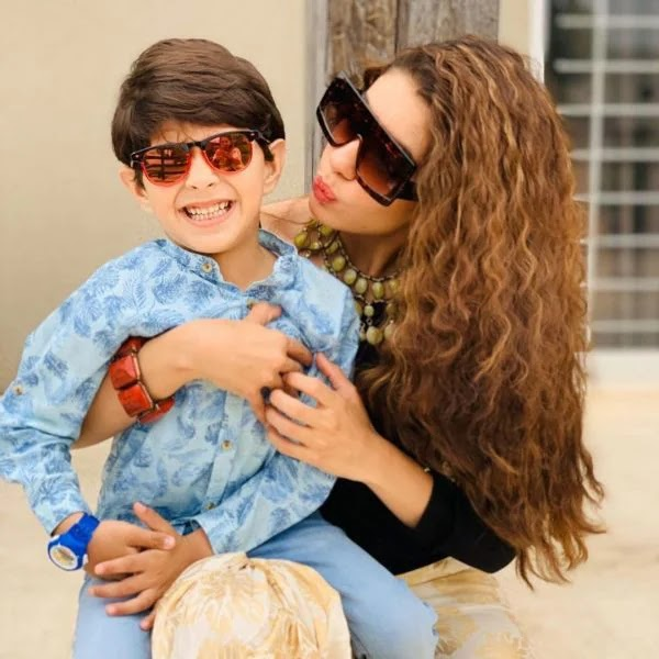 Stunning Clicks of Actress Sadia Faisal with Her Son