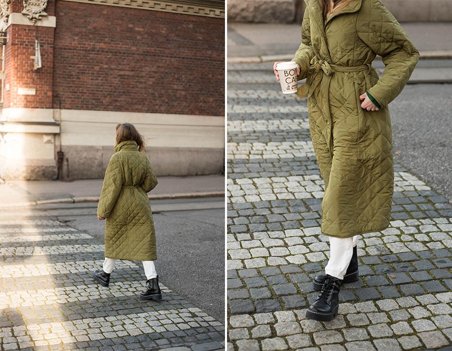 Kuinka yhdistää pitkä tikkitakki // How to style long quilted coat
