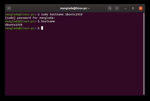 cara mengubah nama komputer (hostname) di Ubuntu Linux