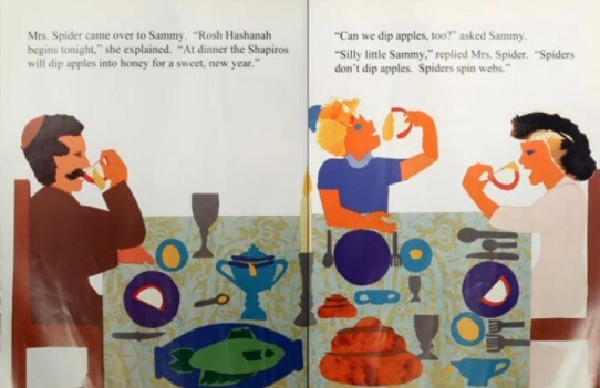 Learn about Rosh Hashanah and apples dipped in honey with Sammy Spider's First Rosh Hashanah by Sylvia Rouss