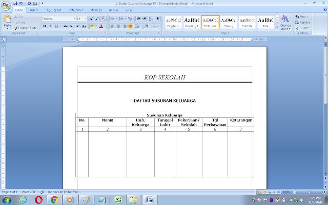 Format daftar susunan keluarga guru/pegawai sekolah