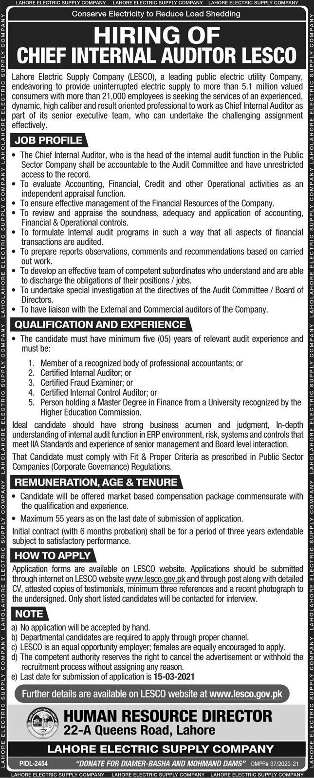 LESCO Careers - WAPDA LESCO Jobs 2021 - LESCO WAPDA Jobs - LESCO Jobs 2021 - Lahore Electric Supply Company Jobs 2021 - www.lesco.job.gov.pk - Online Apply - www.lesco.gov.pk