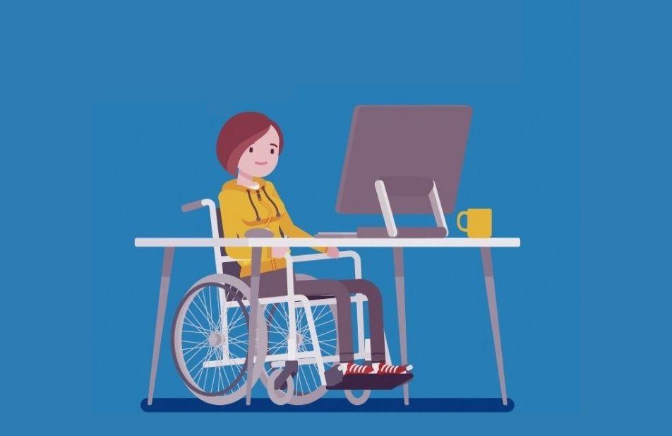 A imagem mostra o desenho de uma cadeirante diante de uma mesa com um computador