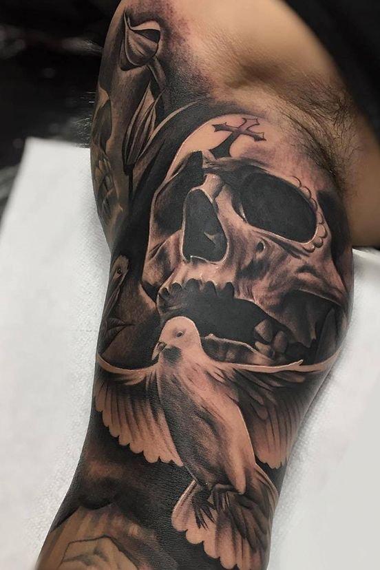 Skull + Dove Tattoo on Arm