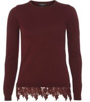 Dorothy Perkins womens berry lace hem jumper