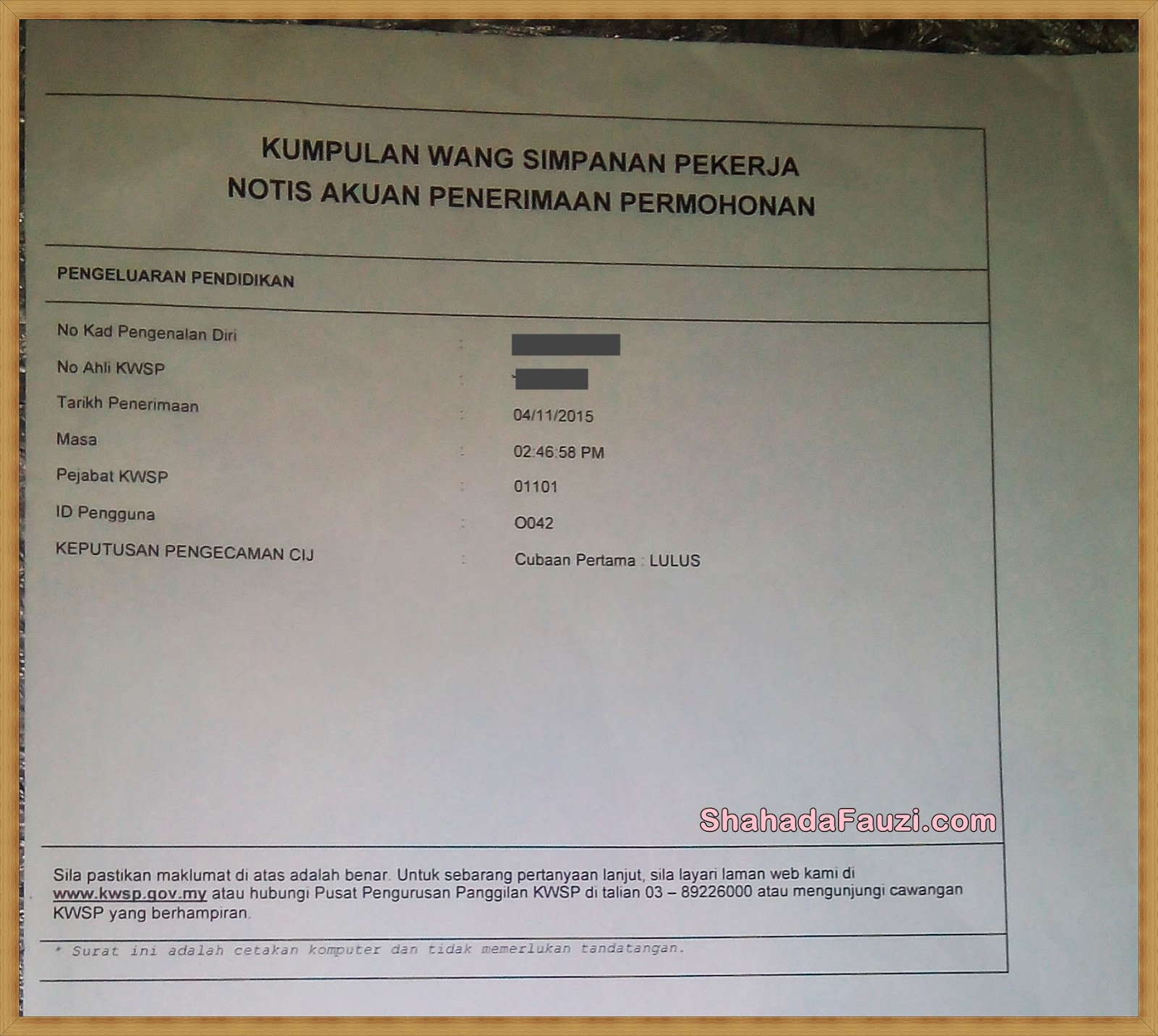 Shahada Fauzi Bayar Pinjaman Belajar Dengan Akaun 2 Kwsp