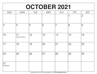 Free Printable Calendar October 2021
