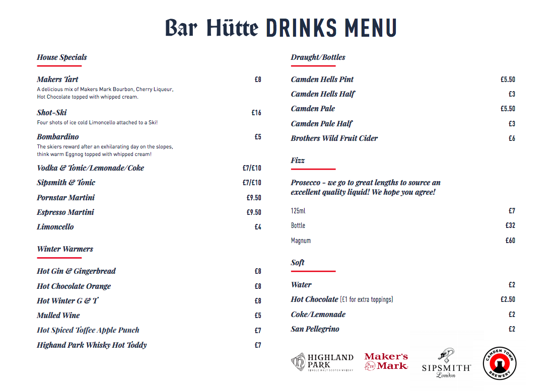 A Guide to Visiting Liverpool Christmas Markets & Lights  - Liverpool One Bar Hutte Christmas Tree Drinks menu