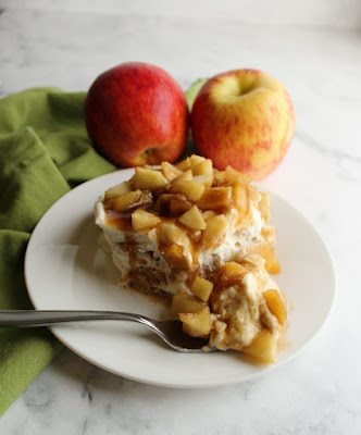 bite of creamy caramel apple icebox cake on fork, ready to eat