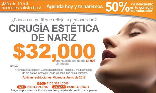 Precio de cirugia estetica plastica de nariz rinoplastia septumplastia en Guadalajara