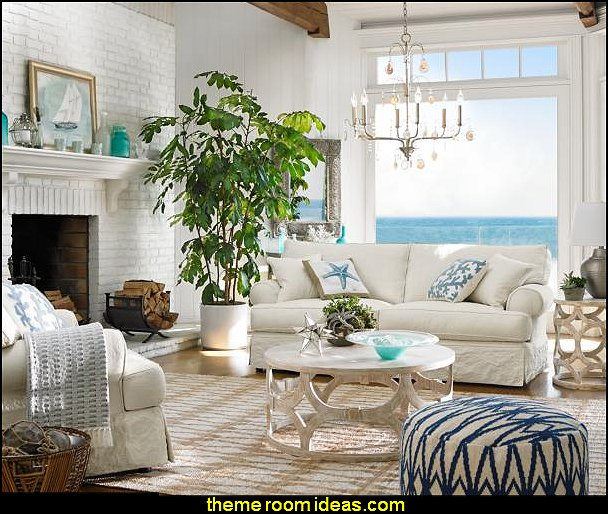Nautical livingroom decorating ideas - coastal seaside with beach themed decor