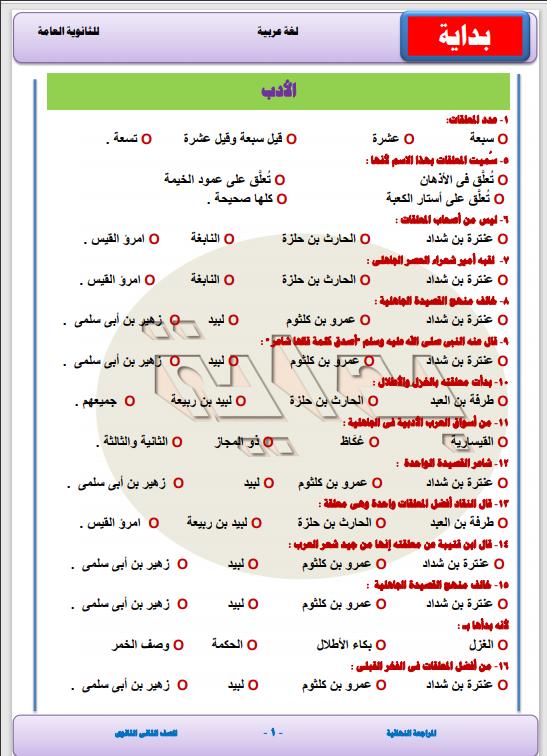 مراجعة نهائية لغة عربية الصف الثانى الثانوى الترم الأول2021