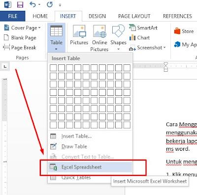 Cara Menggunakan Table Excel di Ms Word1