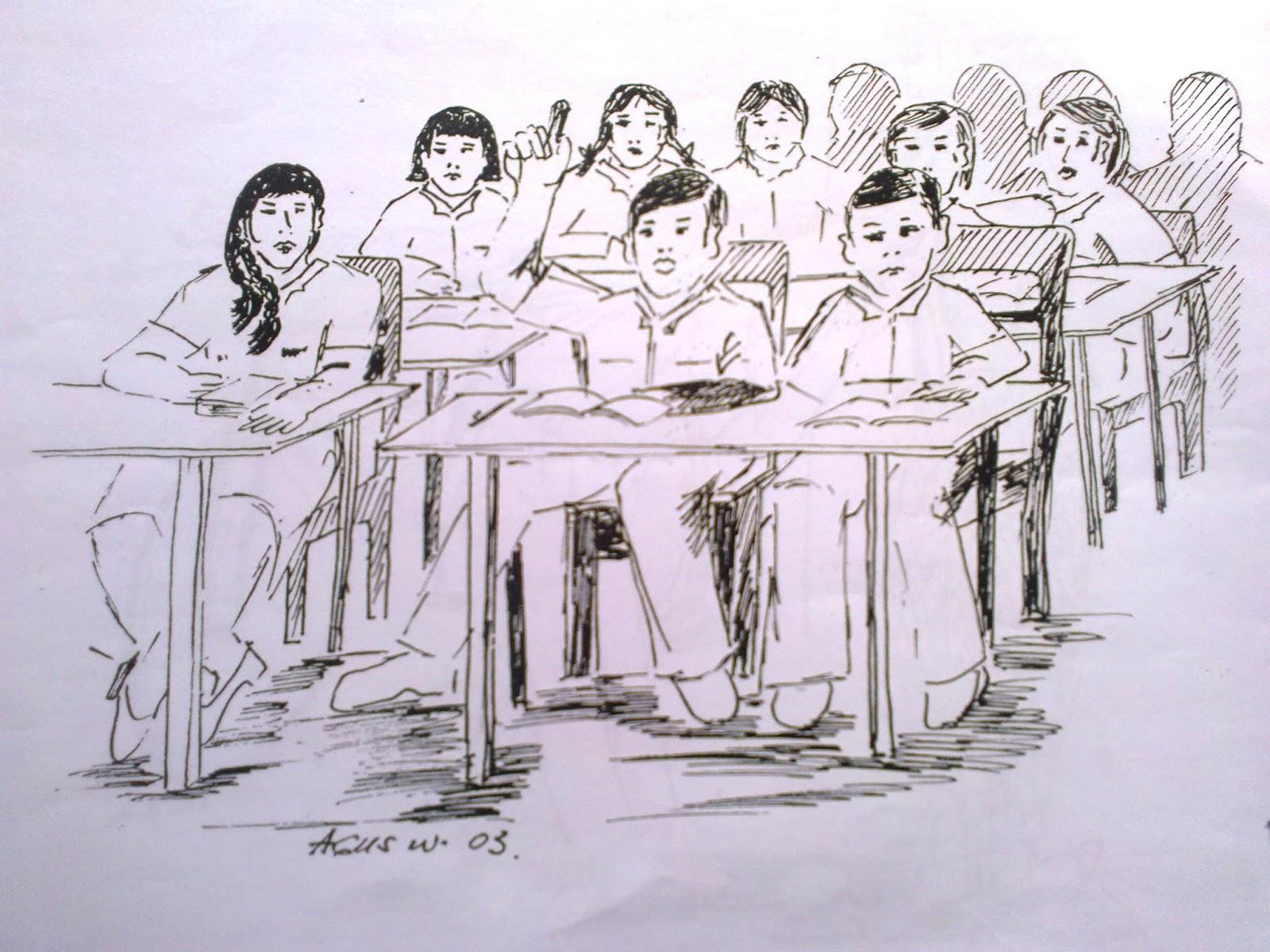 Gambar Sketsa Guru Dan Murid