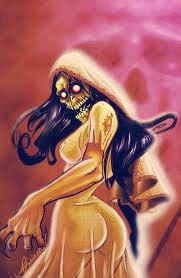 Sihuanaba, female demon with long hair and scary face