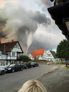 Local people took a few stunning photographs, with the tornado seen hovering over a bar garden in the town of Thorpeness