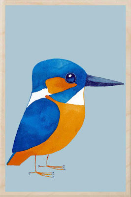 magnet with a drawing of a kingfisher bird