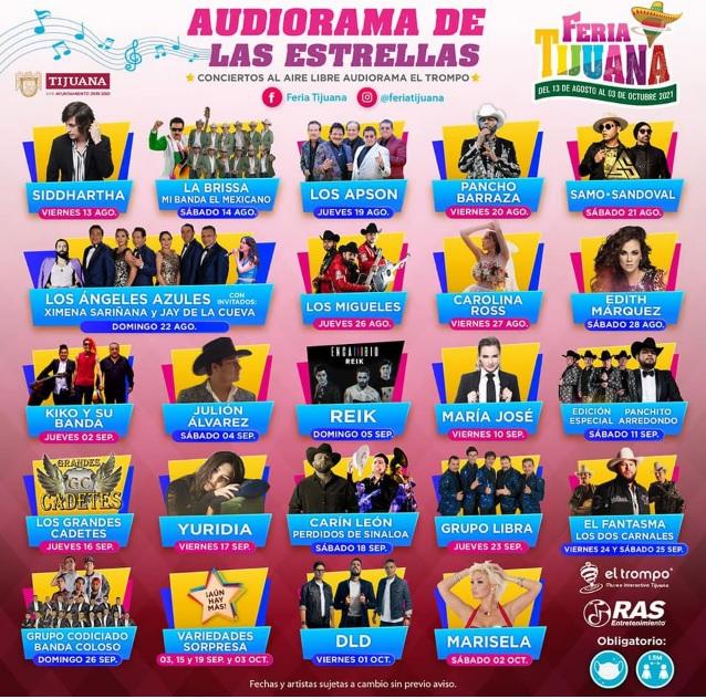 Feria Tijuana 2021 Conciertos en Audiorama 2021