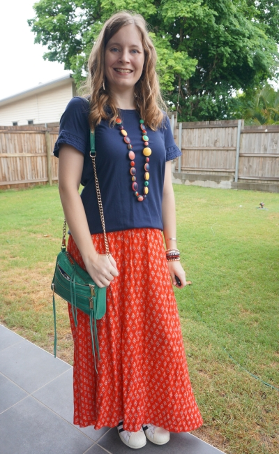 red green and navy summer Christmas party outfit maxi skirt and frill sleeve tee, emerald bag | awayfromblue