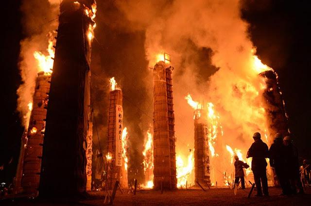 Taimatsu Akashi - fire festival | November 12, Sukagawa-City, Fukushima