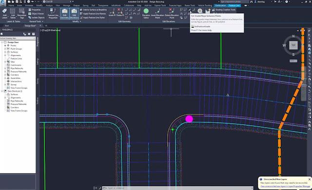 Set grade / slope between points in Civil 3D