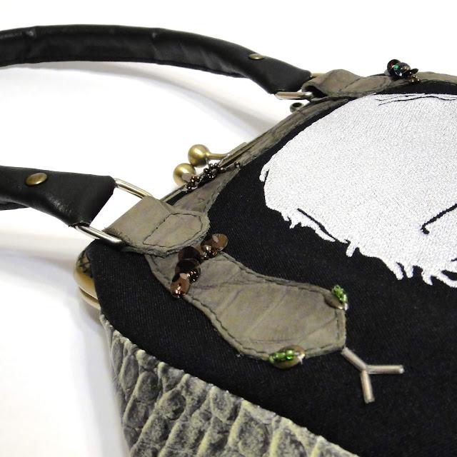 Маленькая женская сумка по мотивам Гарри Поттера - Слизерин, Нагайна, Северус Снейп. Подарок фанату Алана Рикмана, ручная работа