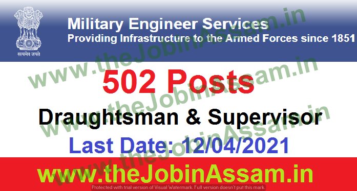Military Engineer Services Recruitment 2021: 502 Draughtsman & Supervisor Vacancy