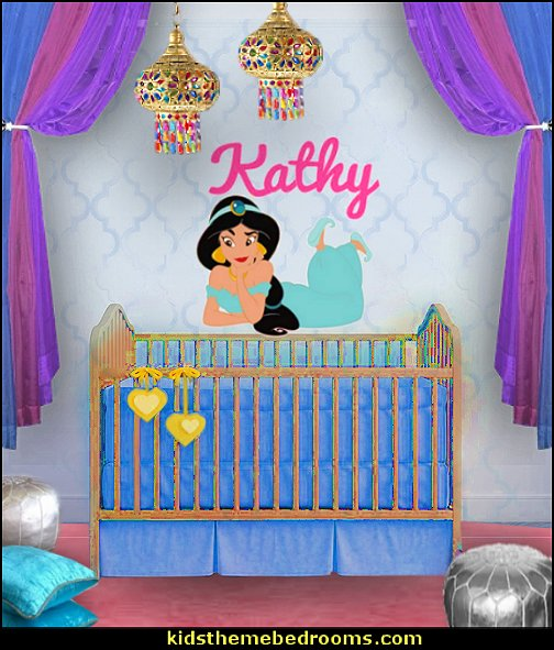 Custom Name - Personalize Colors - Jasmin Princess - Aladdin Movie Wall Decal