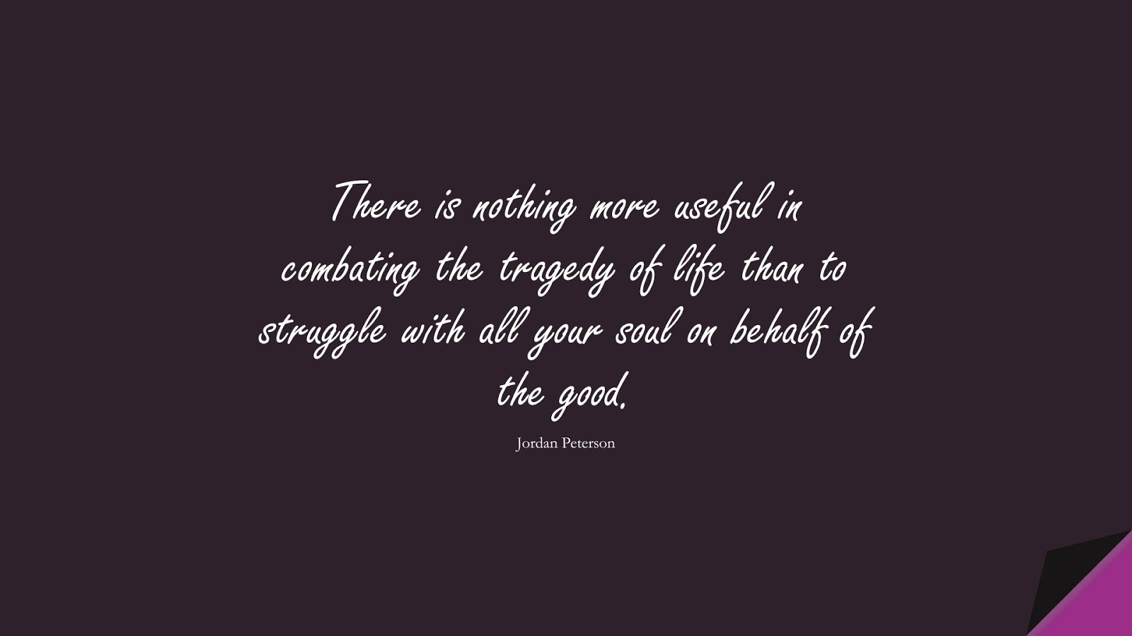 There is nothing more useful in combating the tragedy of life than to struggle with all your soul on behalf of the good. (Jordan Peterson);  #CourageQuotes