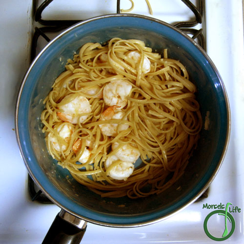 Morsels of Life - Ginger Lime Shrimp Step 5 - Toss together cooked shrimp with pasta.