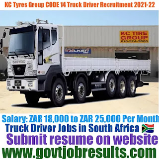 KC Tyres Group CODE 14 Truck Driver Recruitment 2021-22