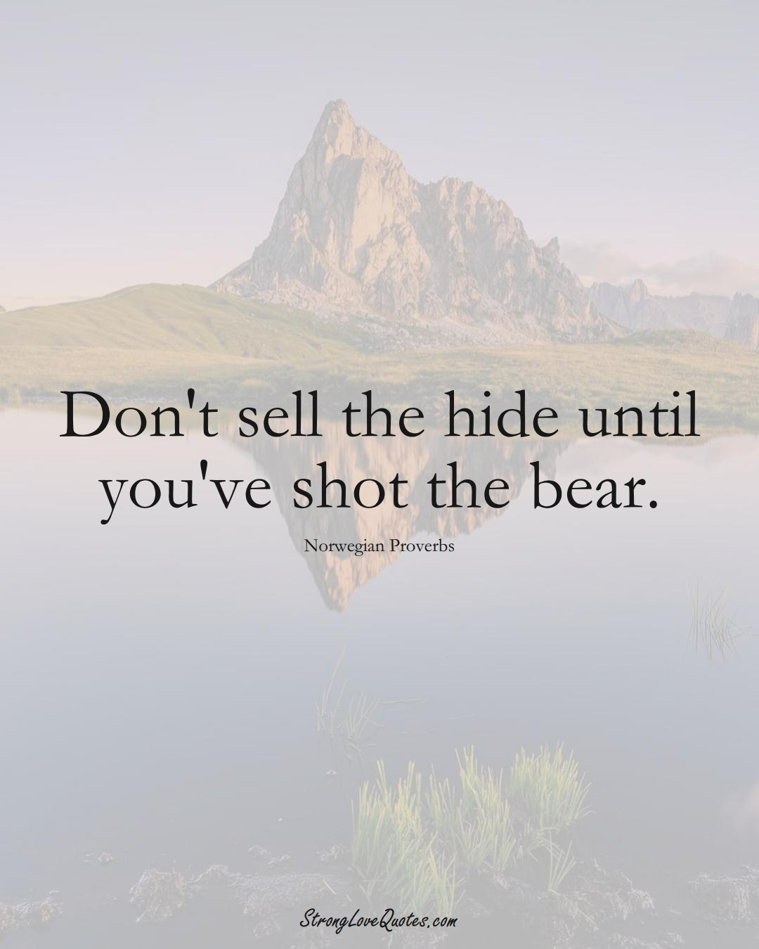 Don't sell the hide until you've shot the bear. (Norwegian Sayings);  #EuropeanSayings