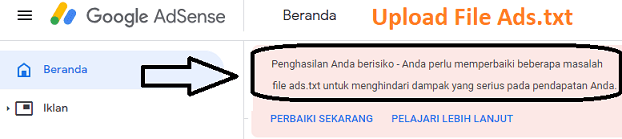 Upload File Ads txt