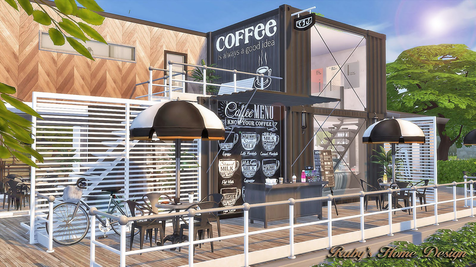 Sims4 container coffee shop no download link ruby 39 s for Sims 4 exterior design