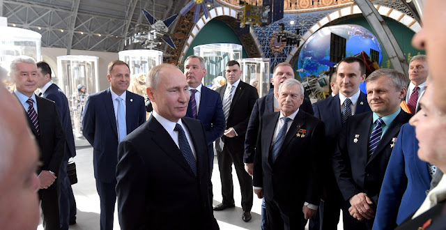 Russian President Vladimir Putin visiting the Cosmos pavilion at the all-Russian Center of Achievements of the National Economy (VDNKh) in Moscow on April 12, 2018. Photo Credit: kremlin.ru