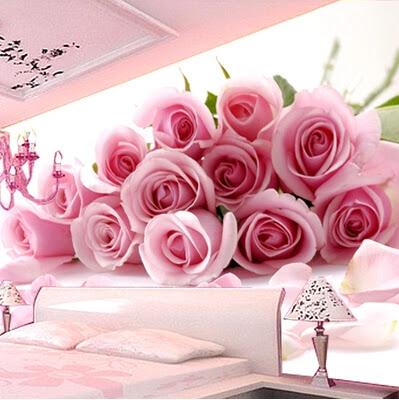 sovrumstapet romantisk rosa rosor fototapet blommor 3d fondtapet