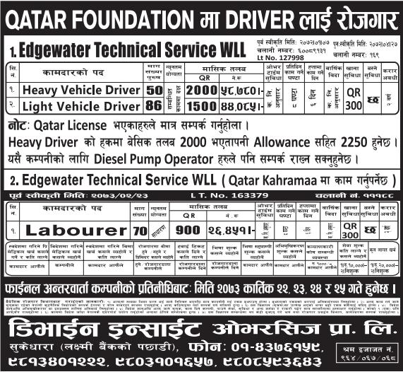 Jobs For Nepali In QATAR FOUNDATION, QATAR Salary -Rs.58,780/