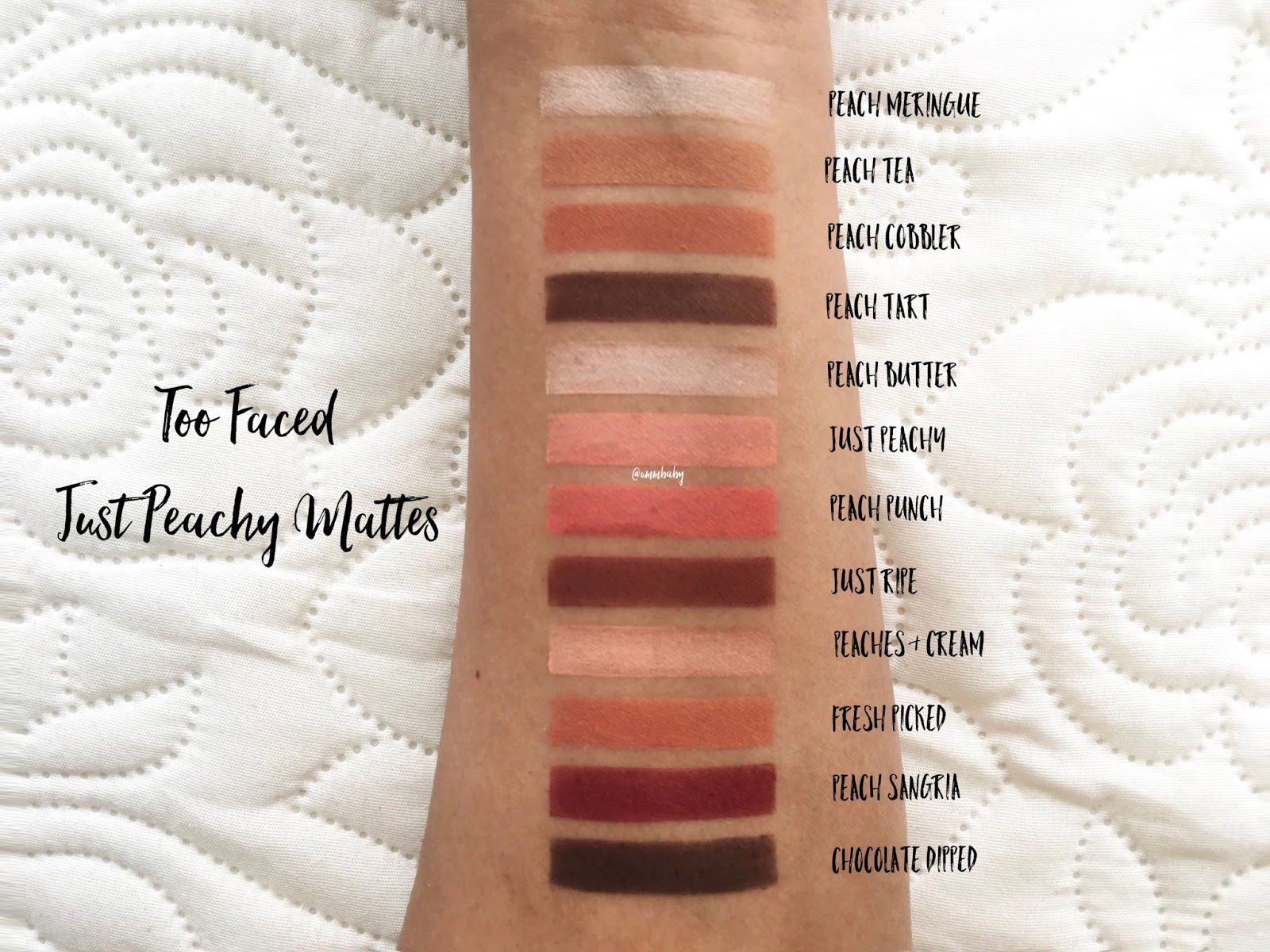 too faced just peachy mattes swatches, medium skin, nc40 swatches, too faced just peachy mattes eyeshadow palette swatches, too faced just peachy mattes swatches medium nc40 deeper skin swatch, too faced just peachy mattes swatches