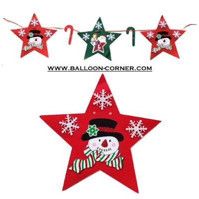 Garland Bintang Flanel MERRY CHRISTMAS