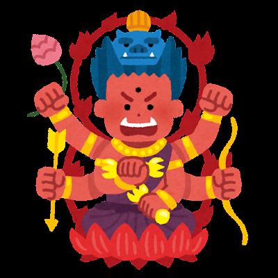 愛染明王のイラスト
