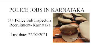 544 Police Sub Inspectors Recruitment- Karnataka