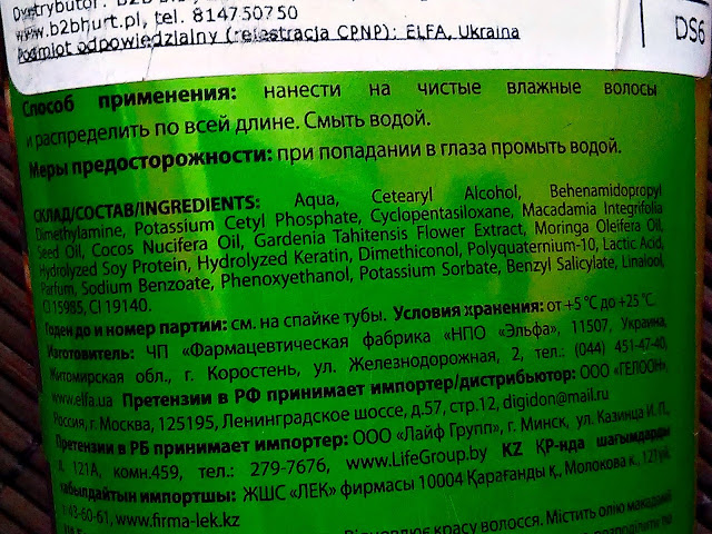 Dr. Santé - Odbudowujący balsam do włosów z olejem macadamia i keratyną, skład