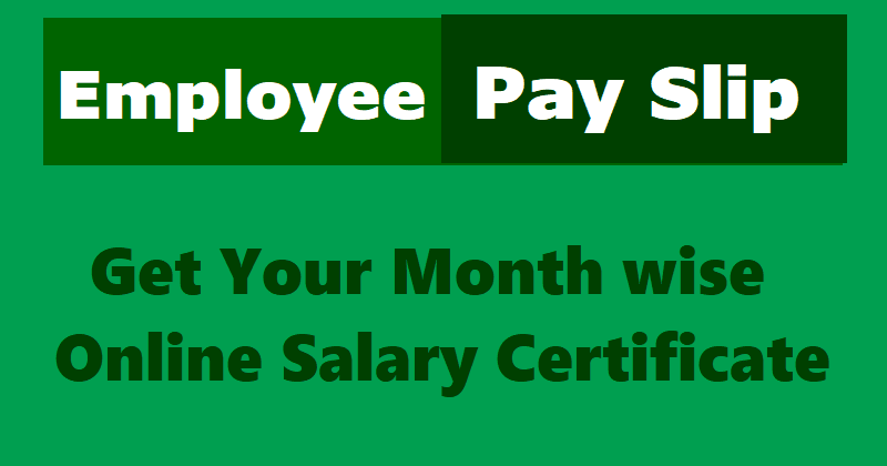 Online Employee Pay Slips /Salary Certificate for TS