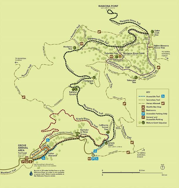 mariposa grove mappa sequoie yosemite