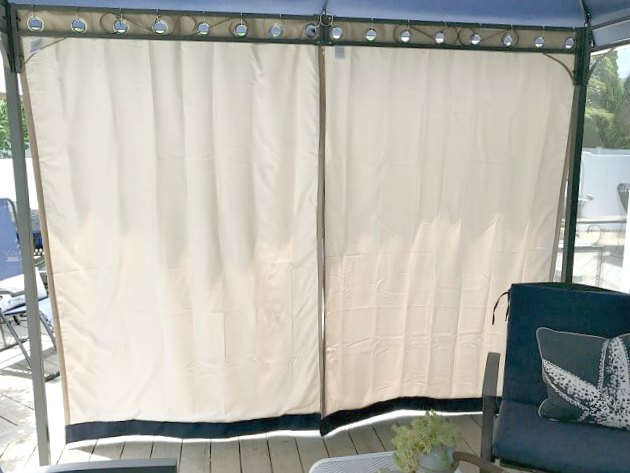 curtains closed on the gazebo