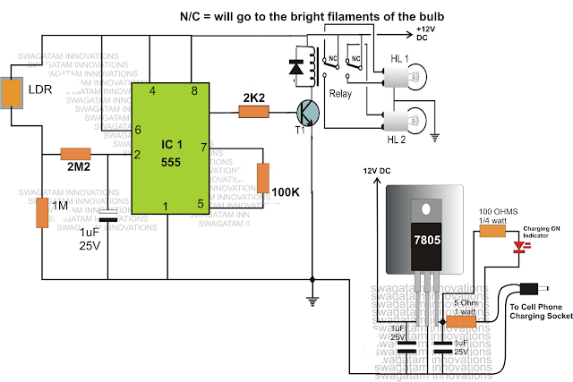 IC 555 dimmer dipper circuit with relays and cellphone charger